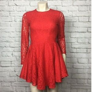 H&M Womens Dress Flare Red Lace Overl